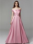 Χαμηλού Κόστους Βραδινά Φορέματα-Γραμμή Α Ώμοι Έξω Μακρύ Σιφόν / Σατέν Κομψό / Μινιμαλιστική / Χρώματα Pastel Χοροεσπερίδα / Επίσημο Βραδινό Φόρεμα 2020 με Φιόγκος(οι) / Κέντημα