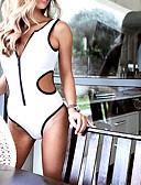 billige Bikinis-Dame Grunnleggende Med stropper Hvit Rød Gul Bandeau G-streng En del Badetøy - Ensfarget S M L Hvit / Sexy