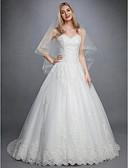 billiga Brudklänningar-Balklänning Hjärtformad urringning Hovsläp Spets / Tyll Axelbandslös Blommig spets Bröllopsklänningar tillverkade med Applikationsbroderi / Knappar 2020