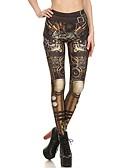 baratos Leggings para Mulheres-Mulheres Sexy Metálica / Esportivo Legging - Tribal, Estampado Cintura Alta Khaki M L XL