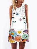 baratos Vestidos de Mulher-Mulheres Feriado Delgado Bainha Vestido - Estampado, Floral Decote em V Profundo Cintura Alta Mini / Sexy