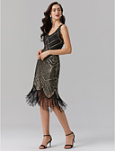 billiga Cocktailklänningar-Åtsmitande V-hals Telång Polyester Glitter och glans / Elegant / Beaded & Sequin Cocktailfest / Återföreningsfest Klänning 2020 med Paljett