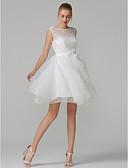 ราคาถูก ม่านสำหรับงานแต่งงาน-A-line Illusion Neckline สั้น / มินิ Tulle / ลูกไม้ลายดอกไม้ See Through Prom แต่งตัว กับ โบว์ / ชั้น โดย TS Couture®