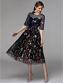 ราคาถูก ชุดแม่เจ้าสาว-A-line Illusion Neckline ต่ำกว่าเข่า ออแกนซ่า / ซาตินชิฟฟอน ชุดราตรีดำ ค็อกเทลปาร์ตี้ แต่งตัว กับ ลายปัก โดย TS Couture®