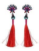 Χαμηλού Κόστους Βίντατζ Βασίλισσα-Cubic Zirconia Κρεμαστά Σκουλαρίκια Φούντα κυρίες Θύσανος Etnic Σκουλαρίκια Κοσμήματα Κόκκινο / Πράσινο / Μπλε Για Καθημερινά Φεστιβάλ