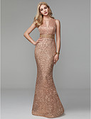 Χαμηλού Κόστους Φορέματα Χορού Αποφοίτησης-Ίσια Γραμμή Με Κόσμημα Μακρύ Με πούλιες Ανοικτή Πλάτη / Με κοψίματα / Beaded & Sequin Επίσημο Βραδινό / Γαμήλιο Πάρτι Φόρεμα 2020 με Χάντρες / Πούλιες