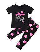 ราคาถูก ชุดเด็กผู้หญิง-Toddler เด็กผู้หญิง ซึ่งทำงานอยู่ พื้นฐาน ทุกวัน Sport ลายพิมพ์ ลายพิมพ์ แขนสั้น ปกติ ปกติ ฝ้าย ชุดเสื้อผ้า สีดำ