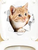billige Eksotisk herreundertøy-Køleskabs klistermærker Toilet klistermærker - Animal Wall Stickers Dyr 3D Stue Soverom Baderom Kjøkken Spisestue Leserom / Kontor