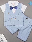 billige Sett med Gutter babyklær-Baby Gutt Gatemote Daglig Trykt mønster Kortermet Normal Tøysett Blå