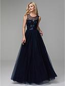 Χαμηλού Κόστους Βραδινά Φορέματα-Γραμμή Α Με Κόσμημα Μακρύ Σατέν / Τούλι Κομψό Χοροεσπερίδα / Επίσημο Βραδινό Φόρεμα 2020 με Χάντρες
