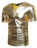 ราคาถูก เสื้อยืดและเสื้อกล้ามผู้ชาย-สำหรับผู้ชาย เสื้อเชิร์ต พื้นฐาน คอวี สีพื้น สีดำ / แขนสั้น
