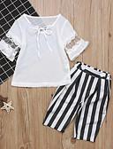 Χαμηλού Κόστους Σετ ρούχων για κορίτσια-Παιδιά Κοριτσίστικα Ενεργό Μπόχο Καθημερινά Αργίες Ριγέ Με Βολάν Κοντομάνικο Κανονικό Βαμβάκι Σετ Ρούχων Λευκό