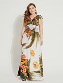 baratos Vestidos de Mulher-Mulheres Tamanhos Grandes Básico Delgado Túnicas Vestido Floral Decote V Longo