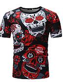 baratos Camisas Masculinas-Homens Camiseta Estampado, Floral / Caveiras Algodão Decote Redondo Vermelho