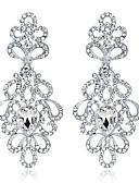 povoljno Haljine za male djeveruše-Žene Kristal Viseće naušnice Chandelier Cvijet dame Moda Elegantno Vjenčan Umjetno drago kamenje Naušnice Jewelry Pink Za Vjenčanje Zabava / večer