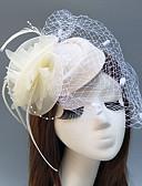 ราคาถูก เครื่องประดับผมสำหรับงานปาร์ตี้-ขนนก / สุทธิ fascinators / หมวก / ฮารด์แวร์ กับ ขนนก / ดอกไม้ 1pc งานแต่งงาน / โอกาสพิเศษ หูฟัง