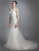 billiga Brudklänningar-Trumpet / sjöjungfru Bateau Neck Hovsläp Spets / Tyll Regelbundna band Öppen Rygg Bröllopsklänningar tillverkade med Bård 2020