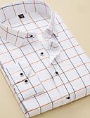 billige Bluser-Skjorte Herre - Ruter Forretning / Grunnleggende Arbeid Hvit / Langermet