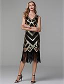 זול שמלות שושבינה-מעטפת \ עמוד צווארון V באורך הקרסול פוליאסטר נוצץ וזוהר מסיבת קוקטייל שמלה עם נצנצים על ידי TS Couture®