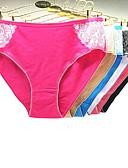 baratos Calcinhas-Mulheres Estampado Sexy Estilo Cueca - Tamanhos Grandes, Bordado 3 Peças Cintura Baixa Arco-íris XXL XXXL XXXXL