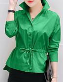 billige Skjorter til damer-Bomull Skjortekrage Skjorte Dame - Ensfarget Oransje