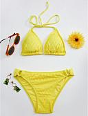 baratos Bikinis-Mulheres Nadador Preto Vermelho Amarelo Triângulo Tanga Biquíni Roupa de Banho - Sólido Renda M L XL Preto