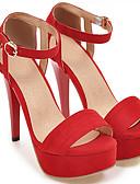 ราคาถูก หมวกสตรี-สำหรับผู้หญิง รองเท้าแตะ รองเท้าส้นสูง ส้น Stiletto ที่สวมนิ้วเท้า หัวเข็มขัด หนังนิ่ม ความสะดวกสบาย ฤดูร้อน สีดำ / อูฐ / แดง / งานแต่งงาน / พรรคและเย็น / พรรคและเย็น