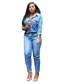 billige Jumpsuits og sparkebukser til damer-Dame Store størrelser Daglig Skjortekrage Lyseblå Sluk til storfisk Kjeledresser, Ensfarget XL XXL XXXL Denimstoff Langermet