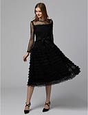 ราคาถูก เดรสสาวดอกไม้-A-line อัญมณี ต่ำกว่าเข่า ชิฟฟอน / ลูกไม้ / Tulle ชุดราตรีดำ ค็อกเทลปาร์ตี้ / Prom แต่งตัว กับ ริบบิ้น / ชั้น โดย TS Couture® / ภาพลวงตา