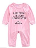 povoljno Haljinice za bebe-Dijete Djevojčice Osnovni Dnevno Print Printing Dugih rukava Pamuk Jednodijelno Blushing Pink