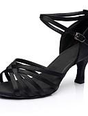 povoljno Stare svjetske nošnje-Žene Plesne cipele Saten Cipele za latino plesove Isprepleteni dijelovi Sandale / Štikle Debela peta Moguće personalizirati Crn / Seksi blagdanski kostimi / Vježbanje