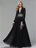 Χαμηλού Κόστους Βραδινά Φορέματα-Ίσια Γραμμή Βυθίζοντας το λαιμό Μακρύ Σιφόν Φανταχτερό / Στυλ Διασήμων / Beaded & Sequin Επίσημο Βραδινό Φόρεμα 2020 με Πούλιες / Πλισέ