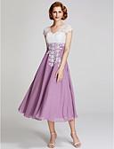 ราคาถูก Special Occasion Dresses-A-line คอวี ต่ำกว่าเข่า ชิฟฟอน / ลูกไม้ แม่ของชุดเจ้าสาว กับ ลูกไม้ โดย LAN TING BRIDE®