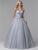 זול שמלות נשף-נשף סטרפלס עד הריצפה טול / סאטן נמתח ערב רישמי שמלה עם פרטים מקריסטל / קפלים על ידי TS Couture®