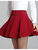 baratos Saias Femininas-Mulheres Para Noite Mini Evasê Saias - Sólido Cintura Alta Preto Vermelho Tamanho Único