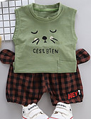 billige Sett med Gutter babyklær-Baby Gutt Aktiv Daglig Trykt mønster Trykt mønster Ermeløs Normal Bomull Tøysett Grønn