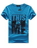 billige T-skjorter og singleter til herrer-Bomull Rund hals Store størrelser T-skjorte Herre - Grafisk / Bokstaver Gatemote Sport Gul / Kortermet