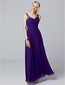 זול שמלות שושבינה-גזרת A צווארון V עד הריצפה שיפון שמלה לשושבינה  עם קפלים על ידי LAN TING BRIDE®