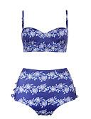 billige Bikinis-Dame Bohem Med stropper Lilla Lyseblå Bandeau Høy Midje Bikini Badetøy - Blomstret Tropisk blad Drapering Trykt mønster L XL XXL Lilla / Sexy