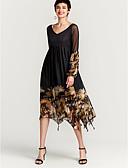 Χαμηλού Κόστους Print Dresses-Γυναικεία Βασικό Swing Φόρεμα - Φλοράλ, Στάμπα Μακρύ Μαύρο