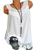ราคาถูก เสื้อผู้หญิง-สำหรับผู้หญิง เสื้อกล้าม ลูกไม้ / ลายต่อ สีพื้น สีดำ