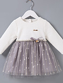 זול שמלות לתינוקות-שמלה כותנה שרוול ארוך קולור בלוק בסיסי בנות תִינוֹק / פעוטות