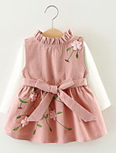 Χαμηλού Κόστους Βρεφικά φορέματα-Μωρό Κοριτσίστικα Ενεργό Γεωμετρικό Μακρυμάνικο Βαμβάκι Φόρεμα Καφέ / Νήπιο