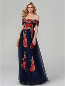 ราคาถูก เมกซิเดรส-A-line ไหล่ตก ลากพื้น ปักด้วยดอกทิวลิป Color Block Prom / ทางการ แต่งตัว กับ ลายปัก โดย TS Couture®