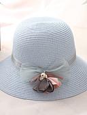 ราคาถูก หมวกสตรี-สำหรับผู้หญิง สีพื้น Straw พื้นฐาน วันหยุด-หมวกสาน ฤดูร้อน สีแดงชมพู ผ้าขนสัตว์สีธรรมชาติ สีฟ้า