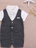 זול אוברולים טריים לתינוקות לבנים-מקשה אחת One-pieces כותנה שרוול קצר פפיון / טלאים אחיד / קולור בלוק בסיסי בנים תִינוֹק
