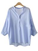 billige Bluser-Bomull Høy krage T-skjorte Dame - Stripet Blå