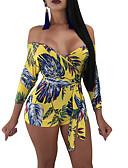 ราคาถูก จั๊มสูทและเสื้อคลุมสำหรับผู้หญิง-สำหรับผู้หญิง ไหล่ตก ไปเที่ยว / ชายหาด คอซอง ส้ม สีเหลือง ขากว้าง Romper Onesie, ลายดอกไม้ S M L แขนยาว