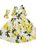 זול שמלות לילדות פרחים-שמלה עד הברך ללא שרוולים דפוס פרחוני לימון ליציאה פעיל / בוהו בנות ילדים / כותנה