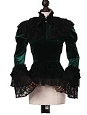 billiga Europeiska kostymer-Cosplay Lolita Rokoko Kostym Dam Blus / Skjorta Kappa Grön / svart Vintage Cosplay Pleuche Långärmad Puffärm